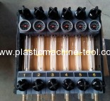 Glass tube water regulators for injection molding machine